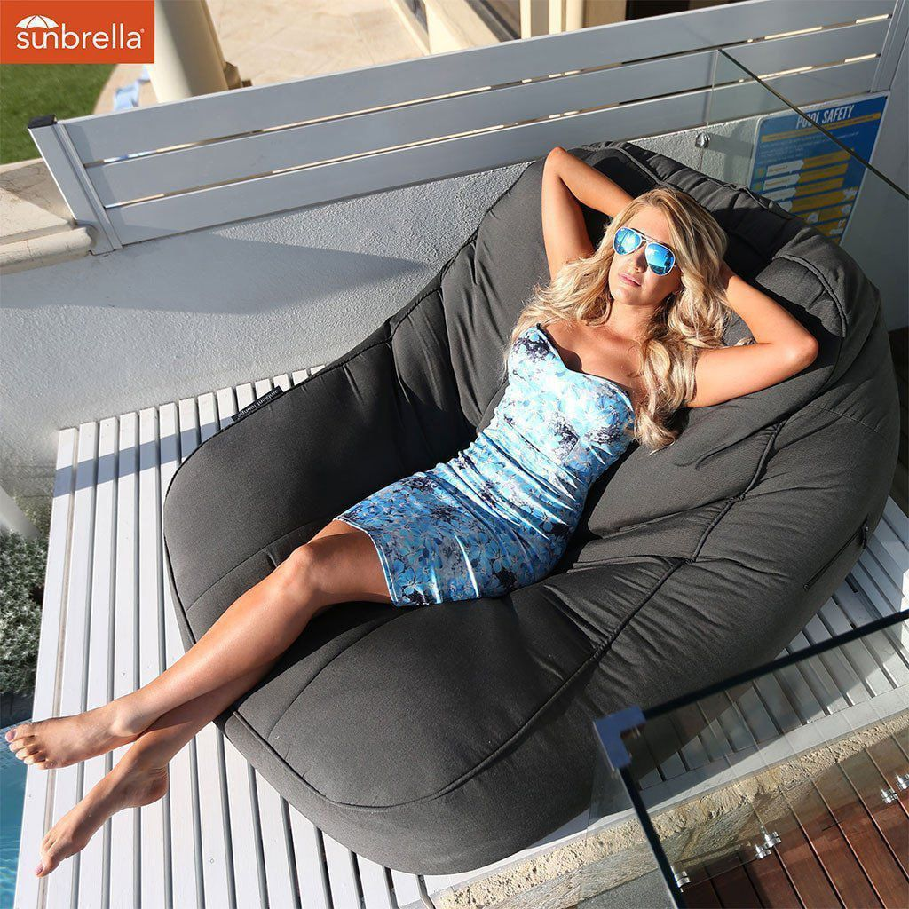 ambient lounge outdoor satellite twin sofa black rock sunbrella