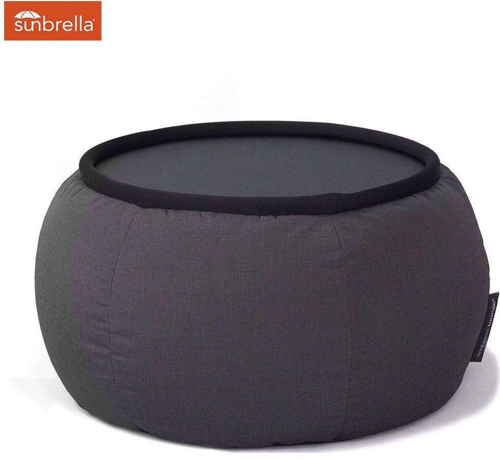 ambient lounge outdoor sunbrella poef versa table black rock