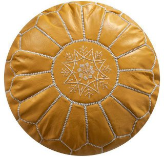 Poufs&Pillows Poef Leder - Yellow
