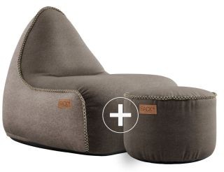 SACKit Canvas Lounge Chair & Pouf - Bruin/Zand