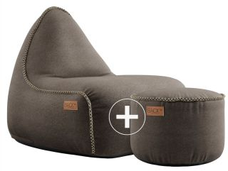 SACKit Canvas Lounge Chair & Pouf - Donkerbruin