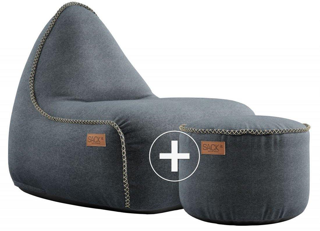 sackit canvas lounge chair pouf petrol