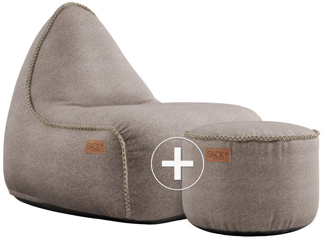 sackit canvas lounge chair pouf zand