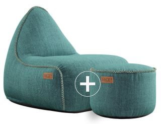SACKit Cobana Lounge Chair & Pouf - Petrol