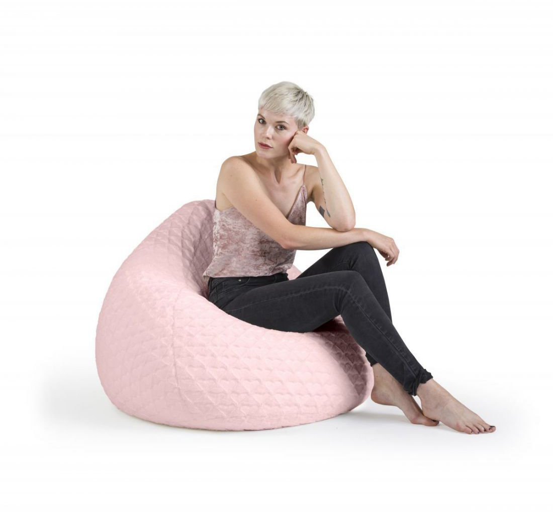 sitting point beanbag fluffy hearts xl roze