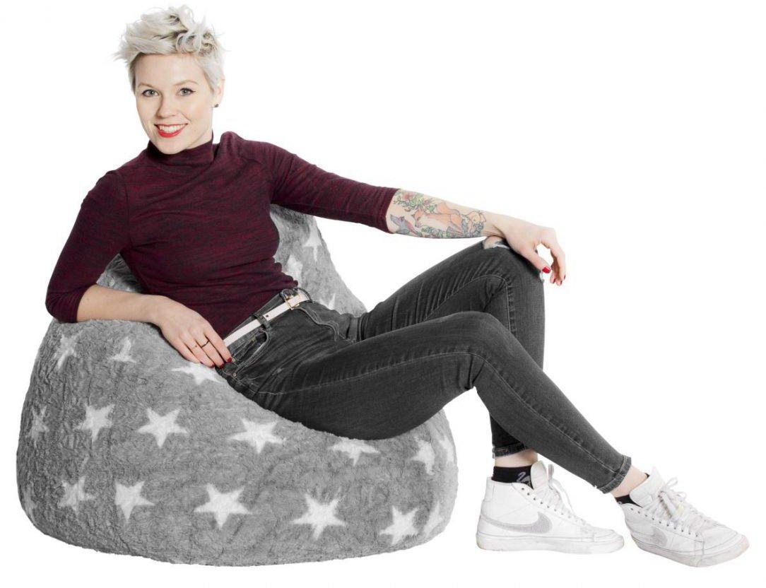 sitting point kinder zitzak beanbag fluffy stars l roze