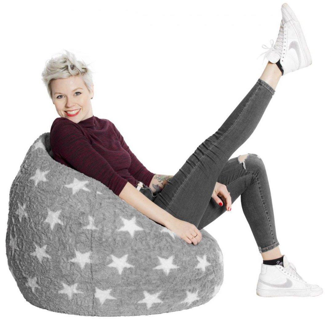 sitting point kinder zitzak beanbag fluffy stars l turquoise