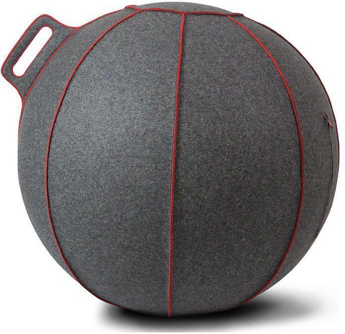 vluv velt zitbal grijsmelangerood 65cm
